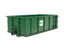 Green roll-off dumpster from Waste Management.